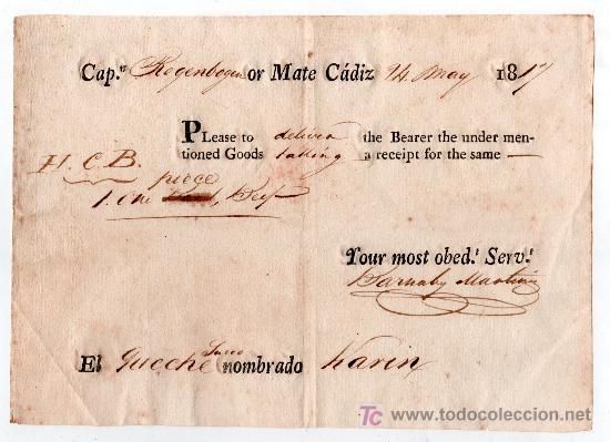 CONOCIMIENTO DE EMBARQUE 1817. CADIZ (Coleccionismo - Líneas de Navegación)