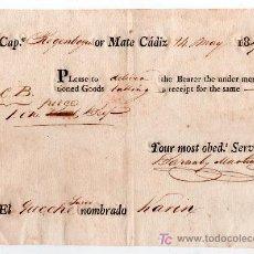 Líneas de navegación: CONOCIMIENTO DE EMBARQUE 1817. CADIZ. Lote 14614309