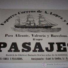 Líneas de navegación: POSTER - CARTEL PUBLICITARIO VAPOR PASAJES. (VAPORES CORREOS TRASATLANTICOS DE A. LOPEZ Y Cª.). Lote 14637892