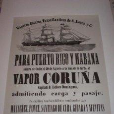 Líneas de navegación: POSTER - CARTEL PUBLICITARIO VAPOR CORUÑA. (VAPORES CORREOS TRASATLANTICOS DE A. LOPEZ Y Cª.). Lote 104243179
