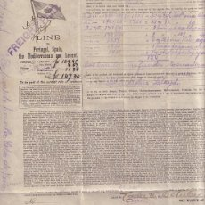 Líneas de navegación: LINEA MARITIMA DEL REINO DE HOLANDA CADIZ 1903 CONOCIMIENTO DE EMBARQUE NAVEGACION. Lote 25169469