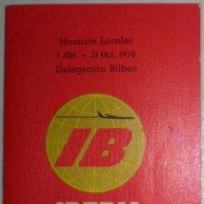 Líneas de navegación: LINEAS AEREAS. HORARIOS Y TARIFAS IBERIA. 1970. 26 PGNAS 10 X 15 CM DELEGACIÓN DE BILBAO. VER FOTOS. Lote 27183829