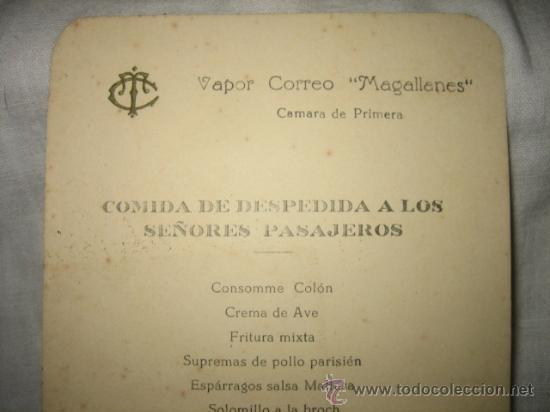 Líneas de navegación: VAPOR CORREO MAGALLANES COMIDA DE DESPEDIDA A LOS SEÑORES PASAJEROS 1952 - Foto 4 - 18840199