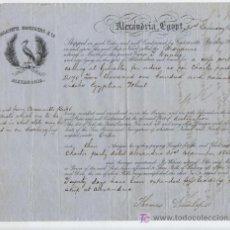 Líneas de navegación: CONOCIMIENTO DE EMBARQUE.ALEJANDRÍA A MARSELLA EN NAVÍO MARIANNE CON CARGA DE TRIGO. AÑO 1856. Lote 19602201