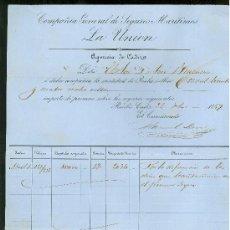 Líneas de navegación: SEGUROS MARITIMO LA UNION. CADIZ. 1859. FACTURA DE UNA POLIZA.. Lote 19920771