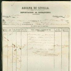 Líneas de navegación: CONOCIMIENTO DE EMBARQUE. 1859. CON DESTINO A NUEVA YORK. ADUANA DE SEVILLA.. Lote 19920878