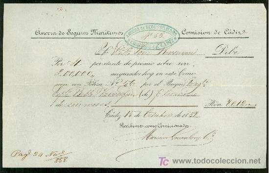 SEGUROS MARITIMOS ANCORA. CADIZ. 1858. (Coleccionismo - Líneas de Navegación)