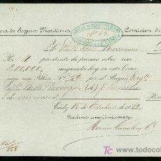 Líneas de navegación: SEGUROS MARITIMOS ANCORA. CADIZ. 1858.. Lote 19935484