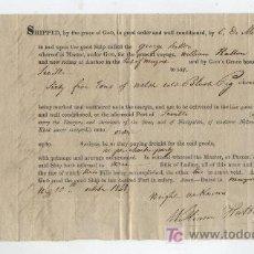 Líneas de navegación: CONOCIMIENTO DE EMBARQUE DE NEWPORT A SEVILLA EN EL NAVÍO GEOGE SUTTONS. AÑO 1848. CON CAR-. Lote 20465541