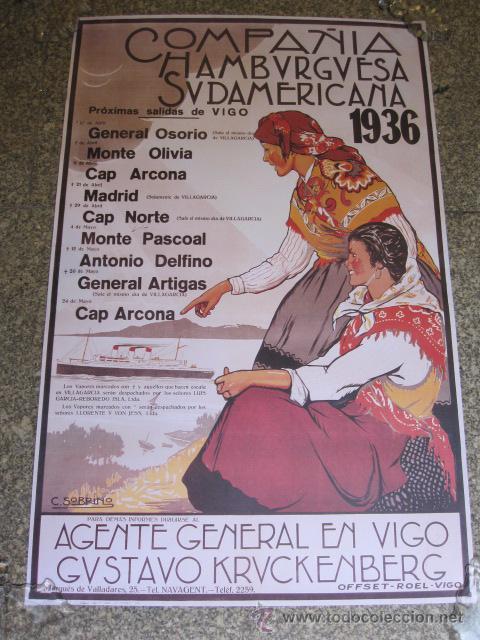 VIGO 5 CARTELES DE NAVEGACION COMPAÑIA HAMBURGUESA -BARCOS DE PASAJE 1936 (Coleccionismo - Líneas de Navegación)
