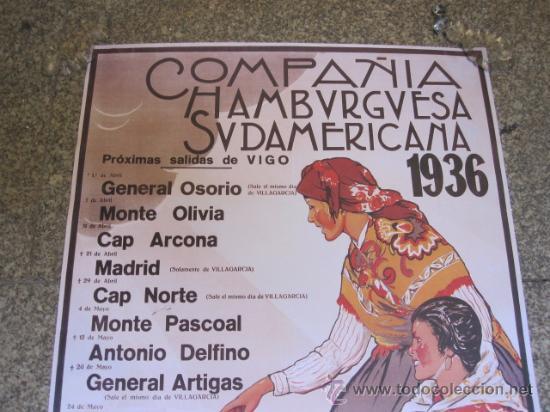 Líneas de navegación: VIGO 5 CARTELES DE NAVEGACION COMPAÑIA HAMBURGUESA -BARCOS DE PASAJE 1936 - Foto 2 - 97311674