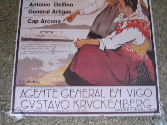 Líneas de navegación: VIGO 5 CARTELES DE NAVEGACION COMPAÑIA HAMBURGUESA -BARCOS DE PASAJE 1936 - Foto 3 - 97311674