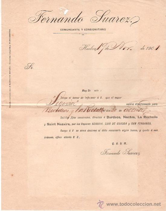 LINEA DE NAVEGACION FERNANDO SUAREZ. COMERCIANTE Y CONSIGNATARIO. SALIDA DE VAPORES. HUELVA 1901. (Coleccionismo - Líneas de Navegación)