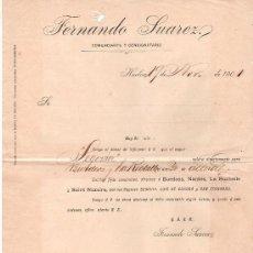 Líneas de navegación: LINEA DE NAVEGACION FERNANDO SUAREZ. COMERCIANTE Y CONSIGNATARIO. SALIDA DE VAPORES. HUELVA 1901. . Lote 22585376
