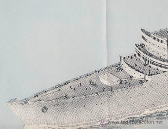 Líneas de navegación: The new-Caronia-cunard white star-folleto presentacion de los astilleros.Desplegable de 4 cuerpos - Foto 2 - 22668838