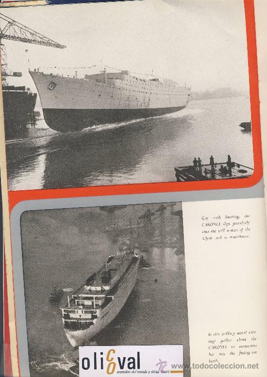 Líneas de navegación: The new-Caronia-cunard white star-folleto presentacion de los astilleros.Desplegable de 4 cuerpos - Foto 3 - 22668838