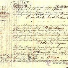 Líneas de navegación: CARTA DE CONOCIMIENTO DE EMBARQUE DE LIVERPOOL A BARCELONA AÑO 1863. Lote 25989453