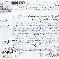 Líneas de navegación: CARTA DE CONOCIMIENTO DE EMBARQUE DE LIVERPOOL A BARCELONA AÑO 1864. Lote 25989454