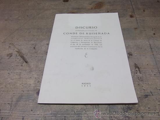 LINEAS DE NAVEGACION-COMPAÑIA TRASATLANTICA-DISCURSO (Coleccionismo - Líneas de Navegación)