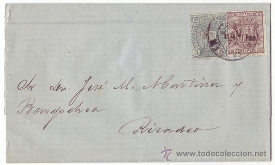 CARTA DE P. LARRINAGA (CONSIGNACIÓN DE VARIAS LÍNEAS DE VAPORES - SANTANDER) A RIBADEO - LUGO (1875) (Coleccionismo - Líneas de Navegación)