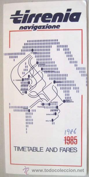 HORARIOS Y TARIFAS. TIRRENIA NAVIGAZIONE. MEDITERRANEO 1985-86.. ENVIO GRATIS¡¡¡ (Coleccionismo - Líneas de Navegación)
