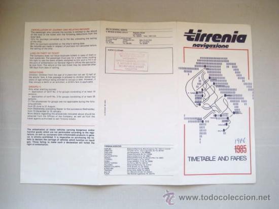 Líneas de navegación: HORARIOS Y TARIFAS. TIRRENIA NAVIGAZIONE. MEDITERRANEO 1985-86.. ENVIO GRATIS¡¡¡ - Foto 3 - 23916080