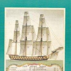 Líneas de navegación: PLANO DE VELAMEN DE UN NAVÍO DE PRIMERA CLASE (ILUSTRACIÓN DEL SIGLO XVIII)/ A. 22.5X29.5. LÁMINA. L. Lote 24781981