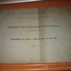 Líneas de navegación: SERVICIO DE TRABAJOS PORTUARIOS PRESUPUESTOS DE GASTOS E INGRESOS PARA EL AÑO 1950. Lote 25343218