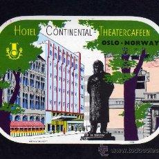 Líneas de navegación: ETIQUETA HOTEL - HOTEL CONTINENTAL - OSLO - NORUEGA.. Lote 25892031