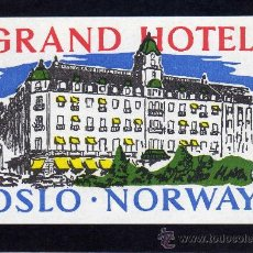 Líneas de navegación: ETIQUETA HOTEL - GRAND HOTEL - OSLO - NORUEGA.. Lote 25892074