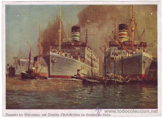 VAPORES DE LA WOERMANN Y LA LÍNEA ALEMANA DEL ÁFRICA ORIENTAL EN EL PUERTO DE HAMBURGO (C.1930) (Coleccionismo - Líneas de Navegación)