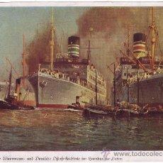 Linhas de navegação: VAPORES DE LA WOERMANN Y LA LÍNEA ALEMANA DEL ÁFRICA ORIENTAL EN EL PUERTO DE HAMBURGO (C.1930). Lote 26273453