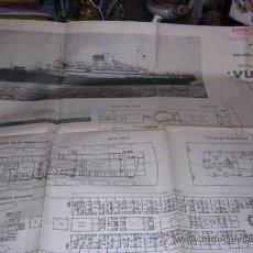 Líneas de navegación: FOLLETO DESPLEGABLE CARTEL,ITALIA SOCIETA DI NAVIGAZIONE.GENOVA - VULCANIA -MOTONAVE-MOTOR-LINE-. Lote 222036172