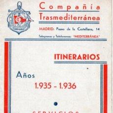 Líneas de navegación: FOLLETO DE ITINERARIOS Y TARIFAS DE LA COMPAÑÍA TRASMEDITERRANEA 1935-36. Lote 27306760