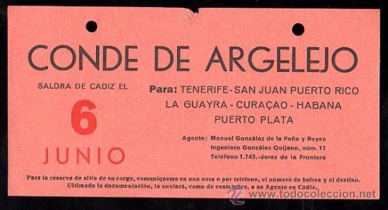 LINEA DE NAVEGACION. CONDE DE ARGELEJO. SALIDA DE CADIZ PARA TENERIFE, SAN JUAN, LA GUAYRA. (Coleccionismo - Líneas de Navegación)