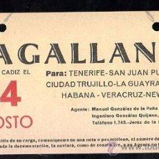 Líneas de navegación: LINEA DE NAVEGACION. MAGALLANES. SALIDA DE CADIZ PARA TENERIFE, SAN JUAN, CIUDAD TRUJILLO,LA GUAYRA.. Lote 28586525