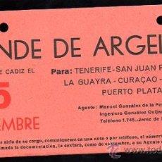 Líneas de navegación: LINEA DE NAVEGACION. CONDE DE ARGELEJO. SALIDA DE CADIZ PARA TENERIFE, SAN JUAN, CURAÇAO.. Lote 28586661