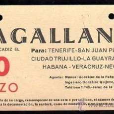 Líneas de navegación: LINEA DE NAVEGACION. MAGALLANES. SALIDA DE CADIZ PARA TENERIFE, SAN JUAN, CIUDAD TRUJILLO.. Lote 28586675