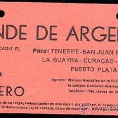 Líneas de navegación: LINEA DE NAVEGACION. CONDE DE ARGELEJO. SALIDA DE CADIZ PARA TENERIFE, SAN JUAN, CURAÇAO.. Lote 28586709