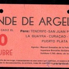 Líneas de navegación: LINEA DE NAVEGACION. CONDE DE ARGELEJO. SALIDA DE CADIZ PARA TENERIFE, SAN JUAN, CURAÇAO.. Lote 28586720