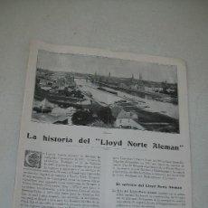 Líneas de navegación: ANTIGUO FOLLETO O REVISTA DE : LA HISTORIA DEL LLOYD NORTE ALEMAN.- TIP. LIT. AUBER Y PLA-BARCELONA. Lote 28624112
