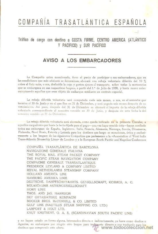 COMPAÑIA TRASATLANTICA. AVISO A LOS EMBARCADORES. TRAFICO DE CARGA LEER (Coleccionismo - Líneas de Navegación)