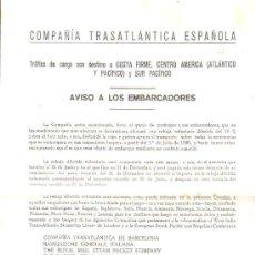 Líneas de navegación: COMPAÑIA TRASATLANTICA. AVISO A LOS EMBARCADORES. TRAFICO DE CARGA LEER. Lote 28658463