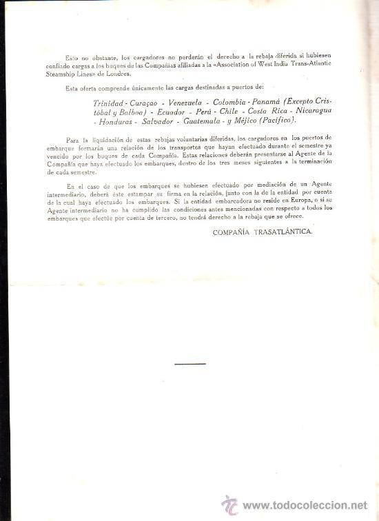 Líneas de navegación: COMPAÑIA TRASATLANTICA. AVISO A LOS EMBARCADORES. TRAFICO DE CARGA LEER - Foto 2 - 28658463