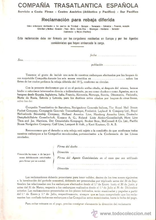 Líneas de navegación: COMPAÑIA TRASATLANTICA. AVISO A LOS EMBARCADORES. TRAFICO DE CARGA LEER - Foto 3 - 28658463