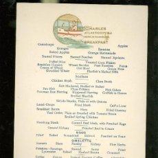 Líneas de navegación: CHARLES ATLANTIC CITY, N.Y. NEWLIN HAINES CO. MENÚ LÍNEA DE NAVEGACION. Lote 28744470