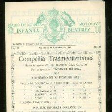 Líneas de navegación: DIARIO NOTICIAS MOTONAVE INFANTA BEATRIZ. CÍA TRANSMEDITERRÁNEA. BCN-CÁDIZ-CANARIAS. ITIN. 1930. Lote 28842203