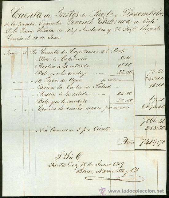 CUENTA DE GASTOS DE PUERTO Y DESEMBOLSOS DE LA FRAGATA GENERAL CHURRUCA, CÁDIZ, 1859 (Coleccionismo - Líneas de Navegación)