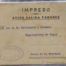 Líneas de navegación: IMPRESO AVISO SALIDA VAPORES, CÁDIZ, GUERRA CIVIL 1938. Lote 29210567