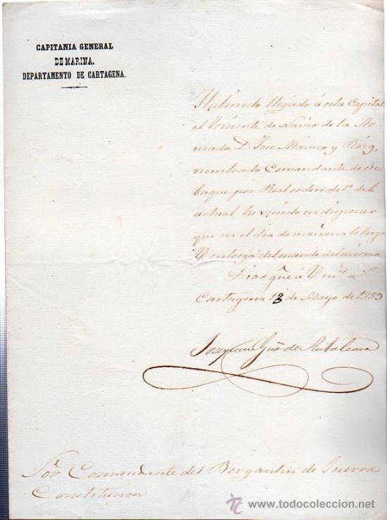 CAPITANIA GENERAL DE MARINA, CARTAGENA, ENTREGA DE BUQUE A COMANDANTE, 1859 (Coleccionismo - Líneas de Navegación)